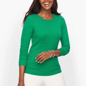 Talbots Green cable knit sweater sz L lambswool